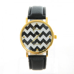 Fasion Women Waves Pattern PU Leather Round Quartz Watch