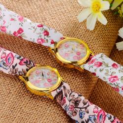 Blumengewebe Band goldene Kasten leben wasserdichte analoge Uhr