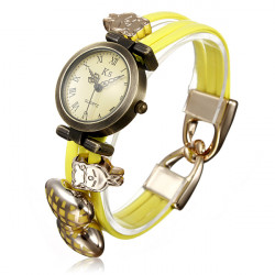 Fluoreszenz Bowknot Kaninchen Leder geflochtenes Armband Armbanduhr