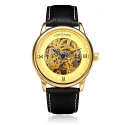 Forsining Leder Roman Gold Silber Zifferblatt Skeleton Männer mechanische Uhr