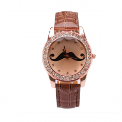 GOGO Beard Diamond Shinning Quartz Leather Wrist Watch