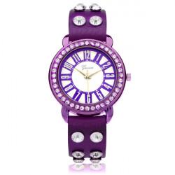 Geveva PU Leather Crystal Rhinestone Number Round Women Wrist Watch