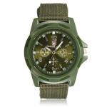 Grön Canvas Militär Analog Herr Sport Quartz Armbandsur Klockor