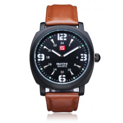 Guote Black PU Leather Number Big Dial Men Wrist Quartz Watch