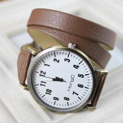 HongC 010 PU Leather Wrap Long Band Big Dial Quartz Watch