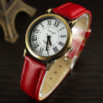 HongC 292 Vintage Roman Number PU Leather Band Analog Quartz Watch Watch