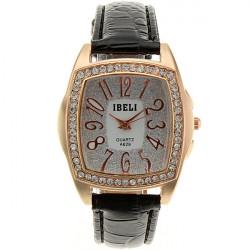 IBELI Crystal Black Leather Band Square Ladies Women Wrist Watch