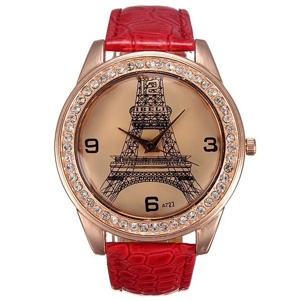 IBELI Large Crystal Faux Diamond Eiffeltårnet Rødt Læder Gjorden Watch Ure & Armbåndsure