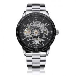 IK Stainless Steel Skeleton Night Light Men Mechanical Watch