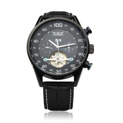 JARAGAR Automatic Mechanical Black Dial Flywheel Men Wrist Watch
