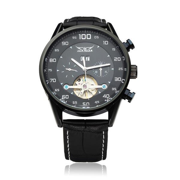 JARAGAR automatische mechanische schwarzem Zifferblatt Schwungrad Mann Armbanduhr Uhren
