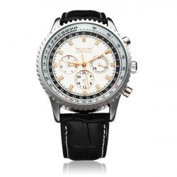 JARAGAR Automatic Mechanical Leather Commercial Casual Watch