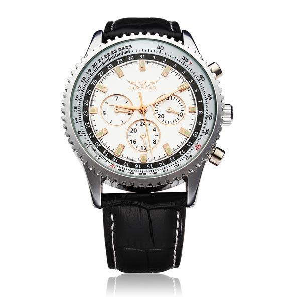 JARAGAR automatische mechanische lederne Gewerbe beiläufige Uhr Uhren