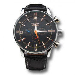 JARAGAR Automatic Mechanical Leather Men Wrist Watch