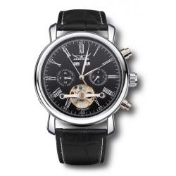 JARAGAR Luxury Skeleton Automatic Mechanical Leather Men Wrist Watch