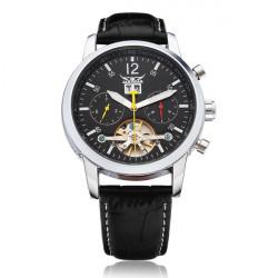 JARAGAR mechanische automatische Tourbillon 3 Zifferblatt schwarz Mann Uhr
