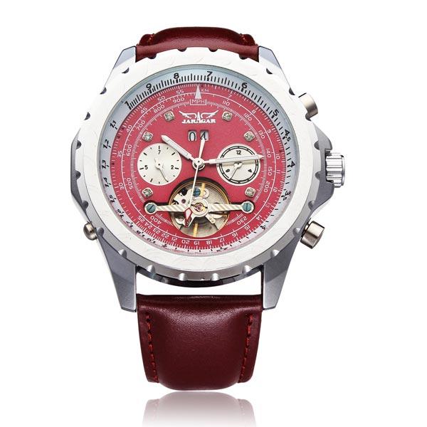 JARAGAR mechanische Tourbillon PU Leder 3 Dial Red Mann Armbanduhr Uhren