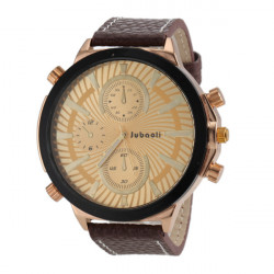 JUBAOLI 1198 Big Dial Leder Band Quarzuhr