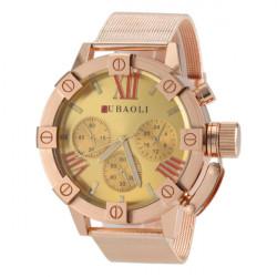 JUBAOLI Gold Big Dial Stainless Steel Band Quartz Watch