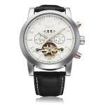 Jaragar Black Leather 3 Dial Flywheel Men Mechanical Wrist Watch Watch