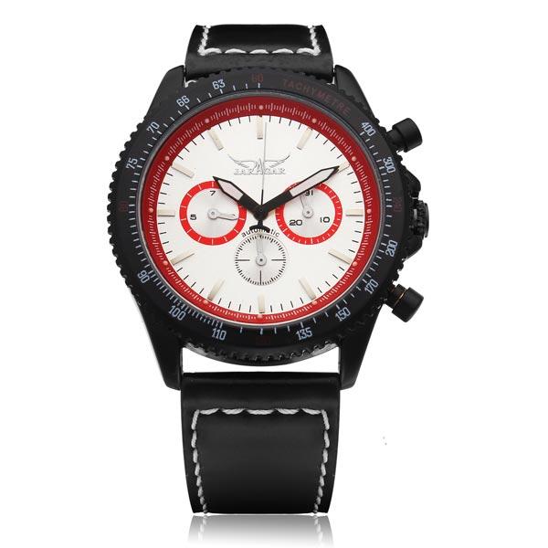 Jaragar Black Leather White 3 Dial Men Mechanical Wrist Watch Watch