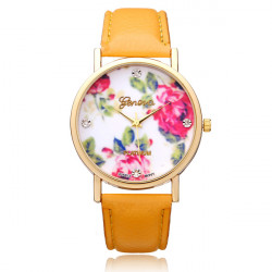 Jelly PU Leather Crystal Flower Round Women Wrist Watch