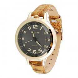 Julius JA-513 Vintage Leather Crystal Women Quartz Wrist Watch