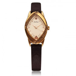 Julius JA-660 Fashion Crystal Rhombus Leather Women Quartz Watch
