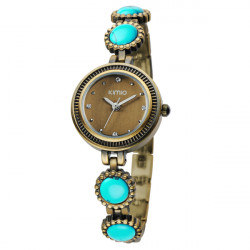 KIMIO K486 Vintage Elegant Rhinestone Bronze Women Bracelet Watch