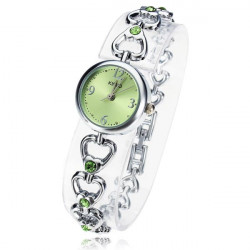 KIMIO K490S Heart Crystal Chain Bracelet Women Quartz Watch