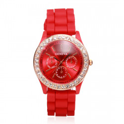 Korean Silica Gel Jelly Crystal Rhinestone Women Quartz Watch