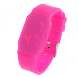 LED Digital Ultra Thin Rubber quadratischen bunten Kinder Armbanduhr