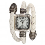Lady Fashion Knitted Leather Bracelet Style Square Quartz Wrist Watch Watch