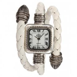 Damemode Strikket Læderarmbånd Style Square Quartz Armbåndsur