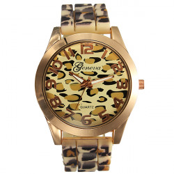 Lady Womens Fashion Gold Leopard Alloy Silicone Quartz Wrist Watch