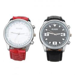 Large Dial Leather Strap Quartz unisex Wrist Watch