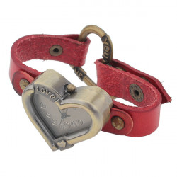 Läder Hjärta Rivet Brons Vintage Klocka Dam Armbandsur
