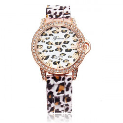 Leopard Crystal Roman Number Rubber Women Wrist Watch