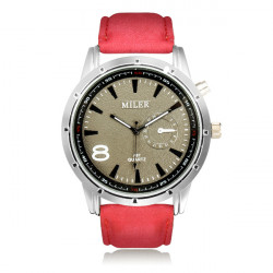 MILER A87 Sport Round PU Leather Women Men Quartz Wrist Watch