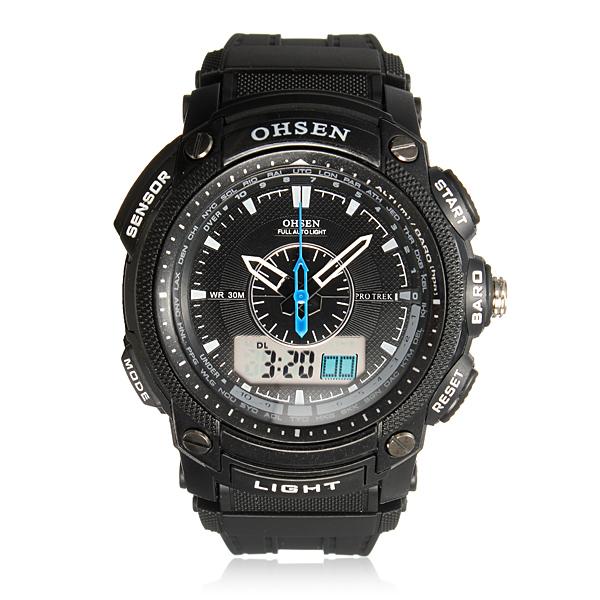 Herr Dubbel Tids Bakgrundsbelysning Digital Militär Sport Quartz Armbandsur Klockor