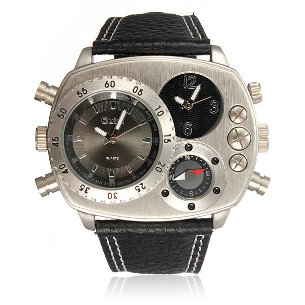 Herr Dubbel Tids Läder Militär Sport Analog Quartz Armbandsur Klockor