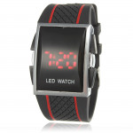 Herr Röd Light LED Digital Silikon Rektangel Quartz Armbandsur Klockor