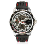 Mann Sport Skeleton automatische mechanische Silikon schwarz Armbanduhr Uhren