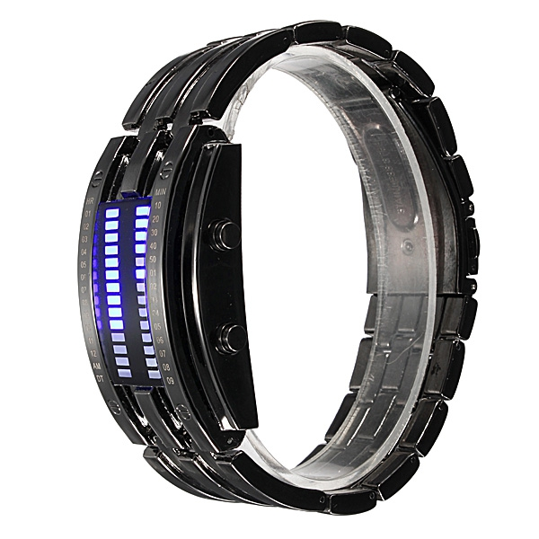 Männer Frauen Schwarz Silber Edelstahl Datum Digital LED Sport Uhr Uhren