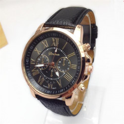 Men WomenThree Eyes Roman Numbers Leather Quartz Watch