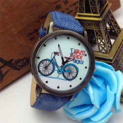 Men Women Vintage Bronze Bicycle Pattern Jean Quartz Watch