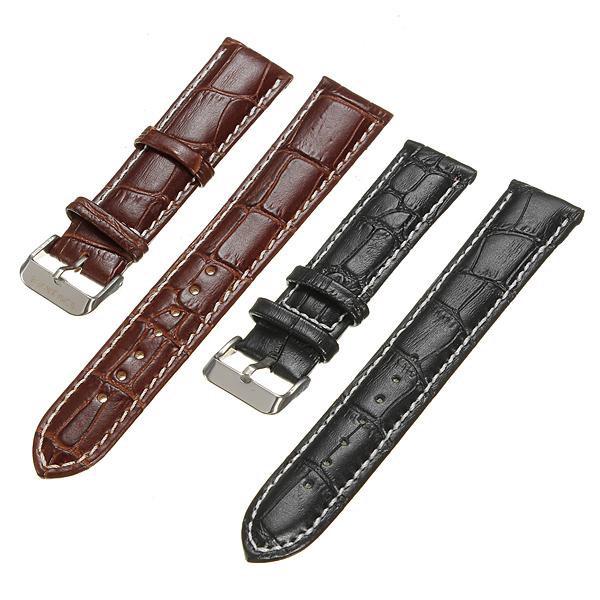 Herren 18mm 22mm Krokodil Muster echtes Leder Uhrenarmband Uhrenwerkzeug