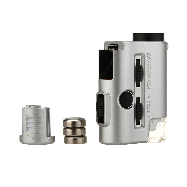 Mini 30-60X Pocket Mikroskop Lupp LED UV-ljus Förstoring Urmakeriverktyg