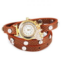 Mond Stern Kristallrhinestone Frauen Armband Leder Quarz Uhr