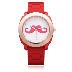 Schnurrbart Silikon Gold Damen runde Zahl Armbanduhr